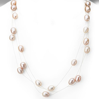 Avanti 14K Yellow Gold Peach Color Freshwater Pearl Triple Strand Illusion Necklace (6-7 mm)