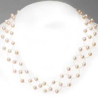 Avanti 14K Yellow Gold Pink Freshwater Pearl Invisible Necklace (4-5 mm)