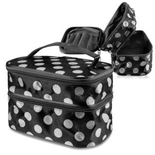 Zodaca Black/ White Dot Double Layer Travel Cosmetic Toiletry MakeUp Organizer Bag