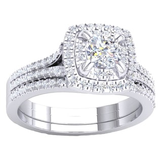14K Gold 1ct TDW Princess & Round Diamond Split Shank Engagement Ring Set (I-J, I1-I2)