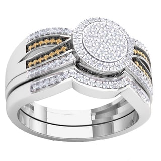 Elora 10k Gold 2/5ct. TDW Round Champagne & White Diamond Ladies Micro Pave Swirl Split Shank Engagement R
