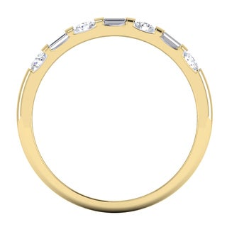 Elora 14K Gold 1/2ct TDW Round & Baguette Cut Diamond Wedding Band (I-J, I1-I2)