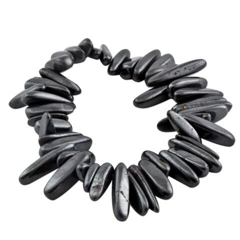Handmade Hematite 'Grey Spikes' Beaded Bracelet (Brazil)