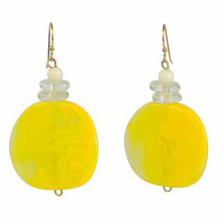 Handmade Glass Beaded 'Yellow Nunana' Earrings (Ghana)