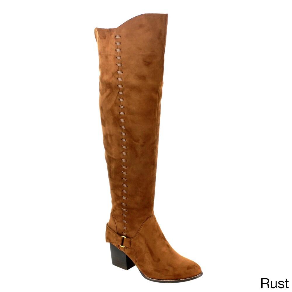 Yoki EE60 Women's Over Knee High Ribbon Block Heel Boots ...