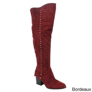 YOKI EE60 Women's Over Knee High Ribbon Block Heel Boots