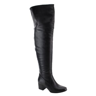 Nature Breeze Women's Faux Leather Over The Knee Mid High Block Heel Boots