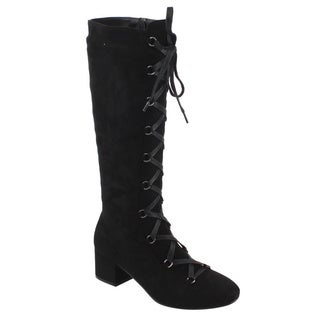 Yoki EE59 Women's Faux Suede Corset Lace-up Side-zipper Block-heel Knee-high Boots