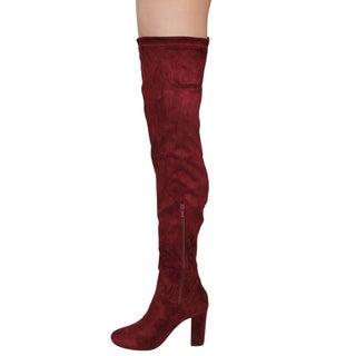 Beston DE01 Women's Block Heel Drawstring Over The Knee Thigh High Stretchy Boot