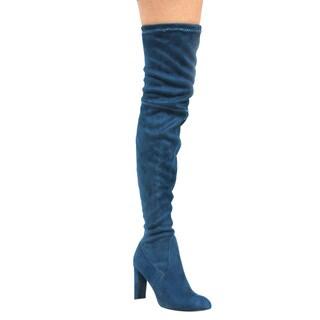 Cape Robbin Women's Faux Suede Over The Knee Block Heel Boots