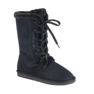 Forever Women's Faux Suede Lace-up Mid-calf Flat Winter Boots