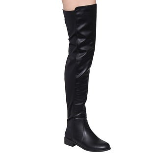 Nature Breeze Women's Faux Leather Over The Knee Low Block Heel Dress Boots