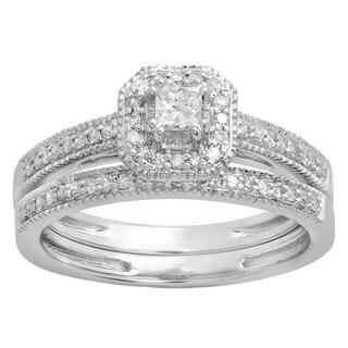 Elora 14K Gold 1/2ct TDW Princess & Round Diamond Halo Engagement Ring Set (I-J, I1-I2)
