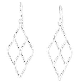 Handcrafted Sterling Silver 'Swirling Diamond' Earrings (Thailand)