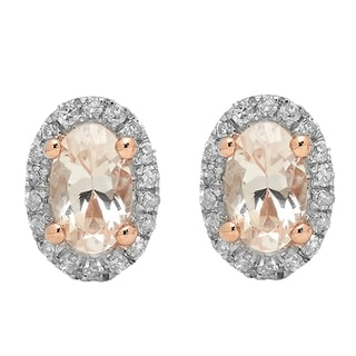 Elora 10K Rose Gold Oval Cut Morganite & Round Cut White Diamond Ladies Halo Stud Earrings (I-J, Pink & Mo