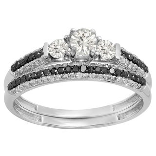 Elora 10K White Gold 7/8 ct. Round White Sapphire, Black & White Diamond 3 Stone Bridal Ring Set (White, I