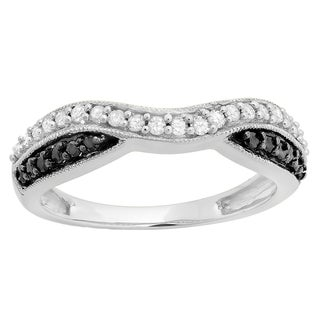Elora 10K Gold 1/3ct TDW Black & White Diamond Wedding Band (I-J & Black, I2-I3)
