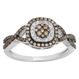 Elora 14k Gold 5/8ct TDW Champagne White Diamond Cluster Bridal Engagement Ring (I-J, I2-I3)