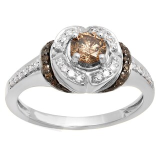 Elora 14k Gold 3/4ct TDW Champagne and White Diamond Engagement Ring (I-J, I1-I2)