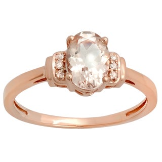 Elora 14K Rose Gold 1 1/10 ct. Oval Cut Morganite & Round Cut Diamond Bridal Engagement Ring (I-J & Pink,