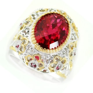 One-of-a-kind Michael Valitutti Rubelite Quartz and Ruby Cocktail Ring