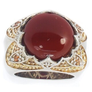 One-of-a-kind Michael Valitutti Carnelian, Spessartite Garnet and White Sapphire Cocktail Ring