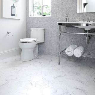 SomerTile 7x8-inch Carra Carrara Hexagon Porcelain Floor and Wall Tile (25 tiles/7.84 sqft.)