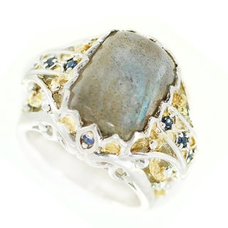 One-of-a-kind Michael Valitutti Labradorite and Blue Sapphire Cocktail Ring