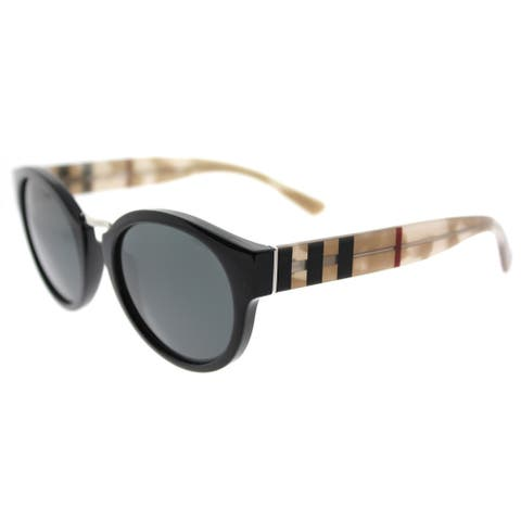 ea472ee1a7793 Burberry Black Round Sunglasses with Grey Lenses