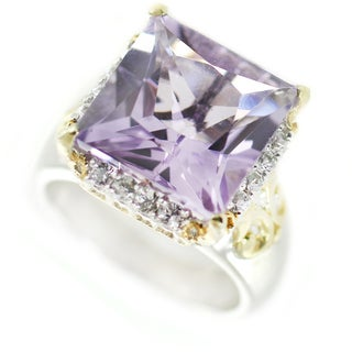 One-of-a-kind Michael Valitutti Princess Cut Amethyst and White Sapphire Cocktail Ring