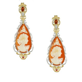 One-of-a-kind Michael Valitutti Cameo and Orange Sapphire Drop Earrings