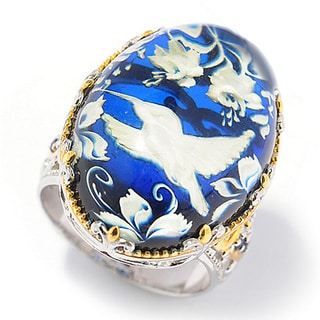 One-of-a-kind Michael Valitutti Silver Carved Amber Bird and Blue Sapphire Cocktail Ring