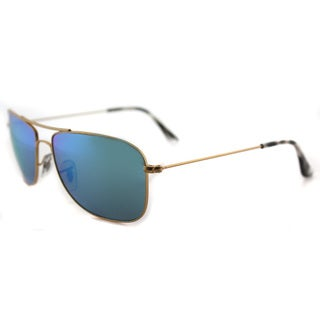 Ray-Ban Chromance Matte Gold Square Sunglasses with Blue Mirrored Lenses