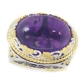 One-of-a-kind Michael Valitutti Palladium Silver Amethyst and Blue Sapphire Cocktail Ring