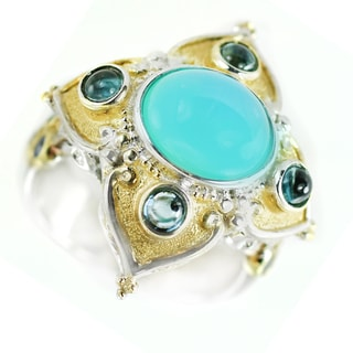One-of-a-kind Michael Valitutti Sterling Silver Crevoshay Blue Chalcedony with Blue Sapphire and Topaz Cocktail Ring
