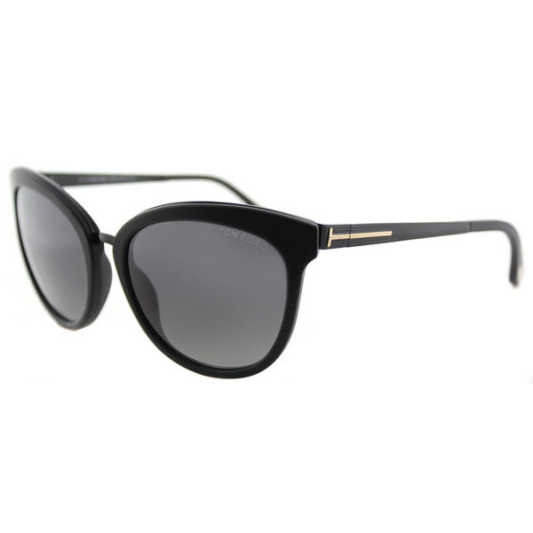 Shop Tom Ford Emma Black Cat-Eye Frame Grey Polarized Lens ...