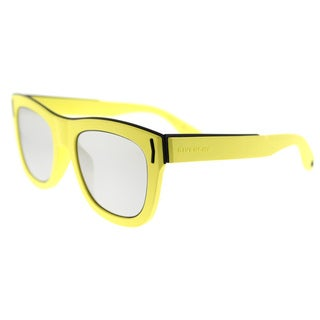 Givenchy Fluorescent Yellow Rectangular Sunglasses with Silver Mirror Lenses