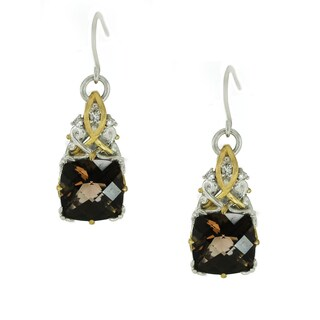 One-of-a-kind Michael Valitutti Palladium Smokey Quartz and White Sapphire Earrings