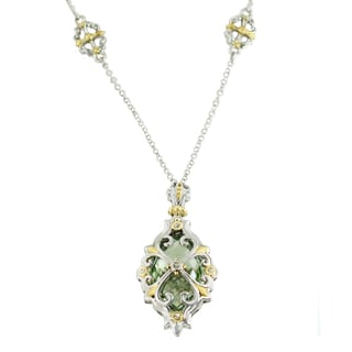 One-of-a-kind Michael Valitutti Green Amethyst and White Sapphire Necklace