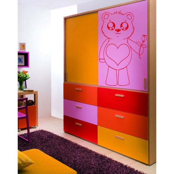 Japanese anime Teddy bear with a heart Kids Room Children Stylish Sticker Decal size 33x52 Color Bla