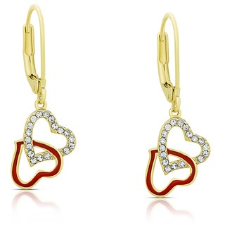 Molly and Emma Gold Overlay Cubic Zirconia and Red Enamel Intertwine Dangle Earrings