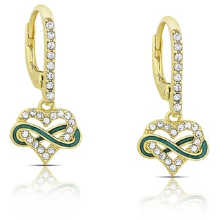 Molly and Emma Gold Overlay Cubic Zirconia and Green Enamel Heart and Infinity Design Leverback Earrings