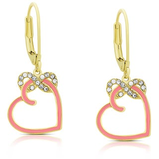 Molly and Emma Gold Overlay Cubic Zirconia and Pink Enamel Heart and Infinity Design Dangle Earrings