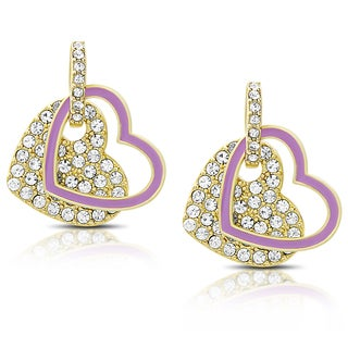Molly and Emma Gold Overlay Cubic Zirconia and Purple Enamel Heart Design Dangle Earrings