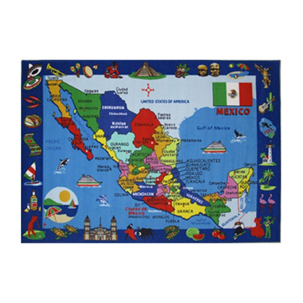 Fun Rugs Home Indoor/ Outdoor Map of Mexico Rug - 8'x 11'