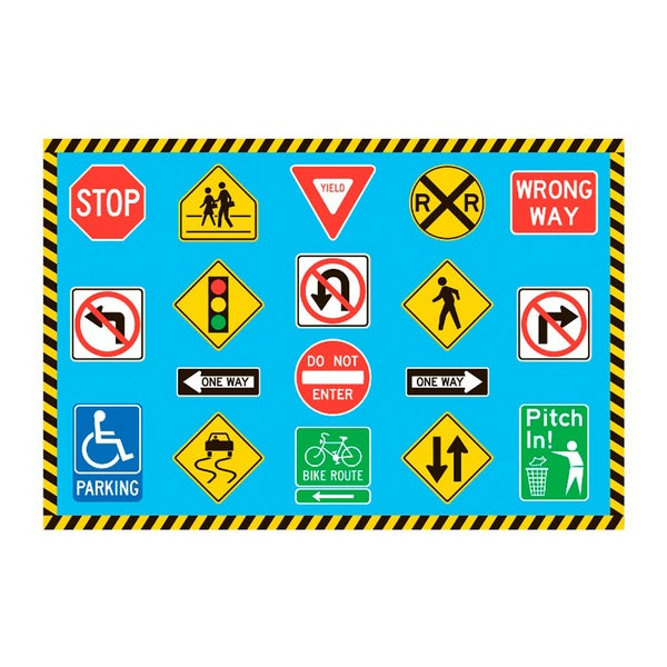 Fun Rugs Home Indoor Traffic Signs Rug  (5'3 x 6'6 )