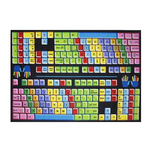 Fun Rugs Hone Indoor Multi Color Keyboard Rug  (5'3 x 6'6 )
