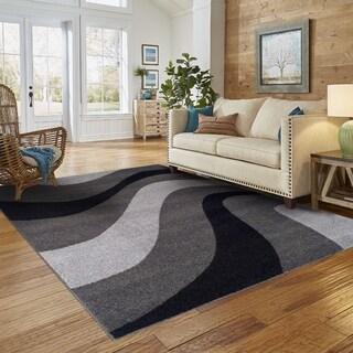 Superior Designer New Wave Grey Area Rug (5' x 8')