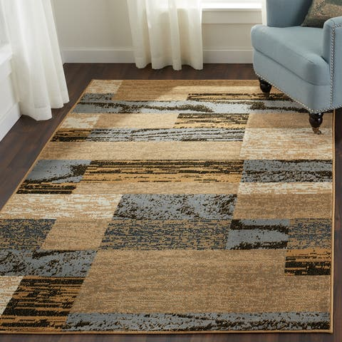 Superior Rockwood Distressed Patchwork Modern Area Rug Collection