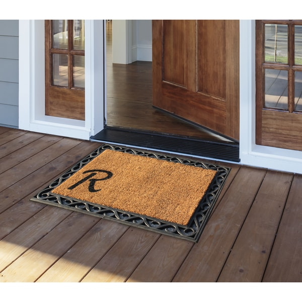 a1hc first impression beige  black rubber tray mat with monogrammed coir insert  24x36